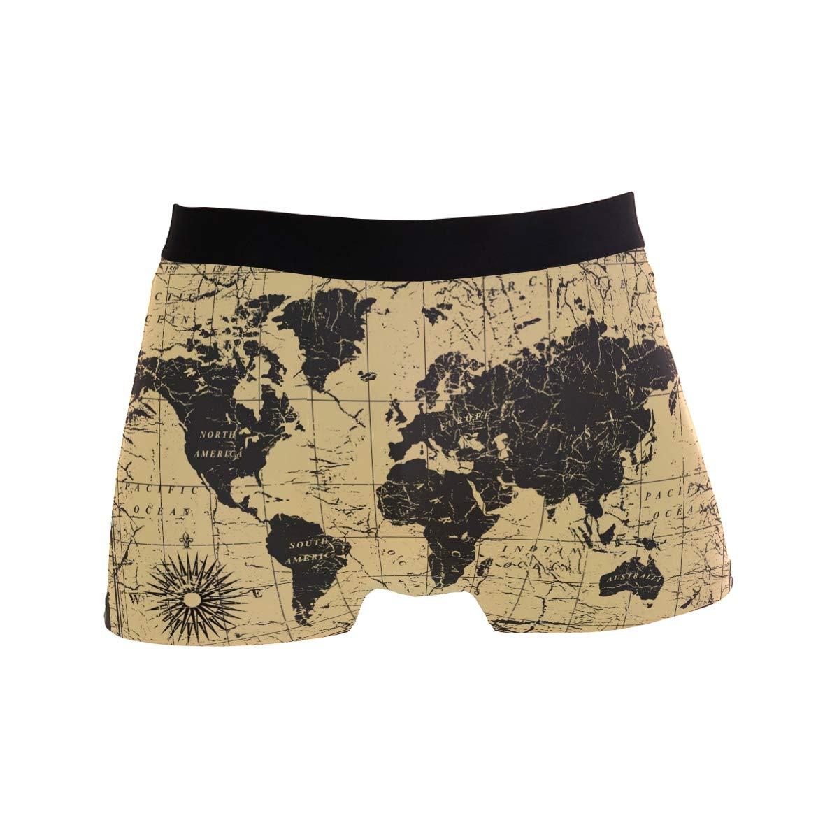 Mkuell Retro World Map Comfortable Mens Boxer Briefs Multi-Size Soft Underwear S