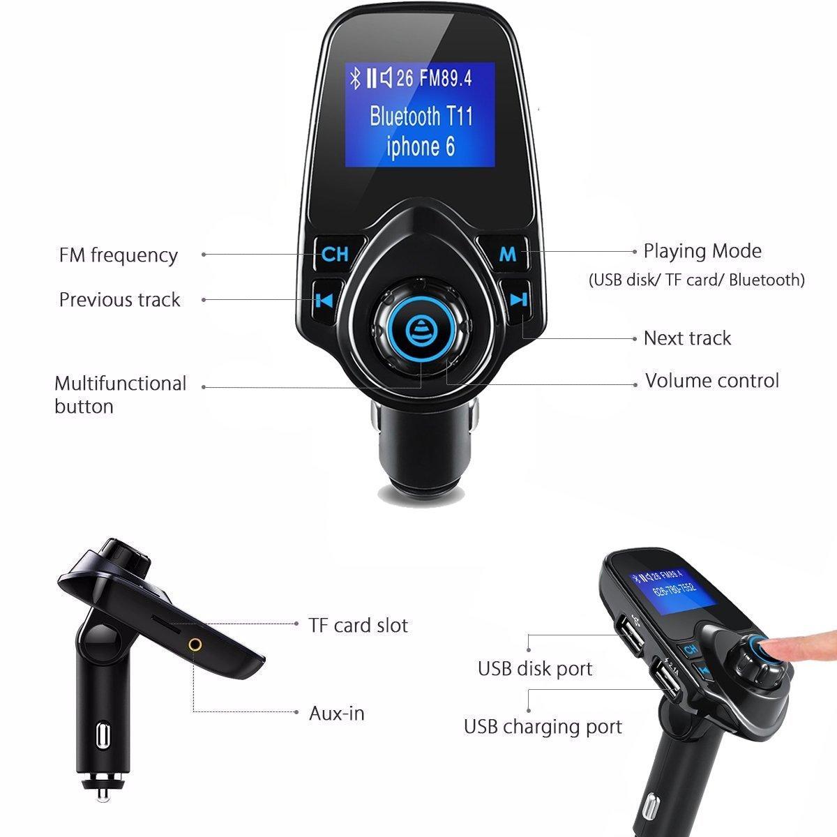 Manos Libres Bluetooth Transmisor FM Coche Mini Manos Libres Emisor Radio Adaptador Radio Musica Receptor Altavoz Bluetooth Coche FM Reproductor de MP3 Transmisor 5V//2.1A USB Bluetooth