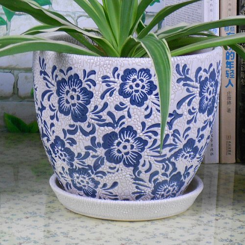 on Round Flower Planter Pot with Saucer/ Tray, Elegant Blue and White Color (White Floral Pot)