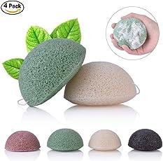 bullspring esponja baño-Konjac Facial Natural Puff Face Wash Limpieza Esponja Verde Rosa Blanco 4 color disponible esponja maquiagem