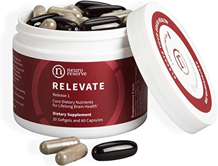 NeuroReserve RELEVATE - Brain Health Supplement - Support Memory, Healthy Brain Aging, Focus, Natural Energy, Mood - for Comprehensive, Long-Term Benefit - Antioxidants, Omega 3 DHA EPA, Vitamin B12