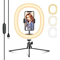 EIVOTOR LED Ringljusstativ 10 Tums Selfie-ringljus Makeup Dimbar 3 ljusfärger + 10 ljusstyrkenivåer Justerbart…