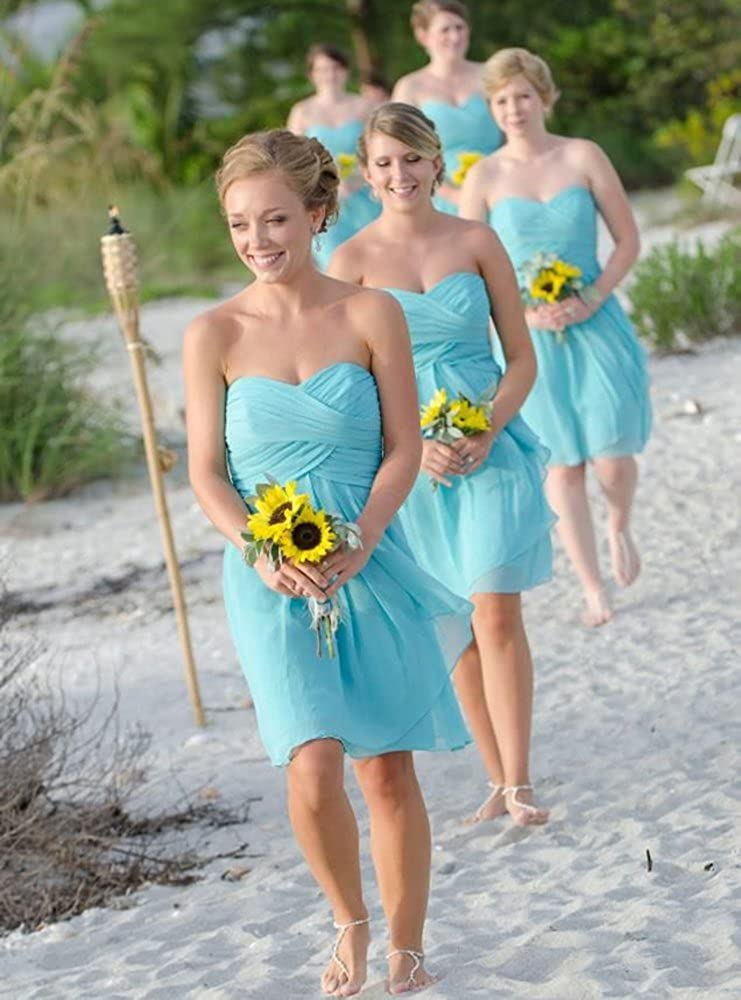 Harsuccting Sweetheart Strapless Ruffles Short Chiffron Bridesmaid Dresses