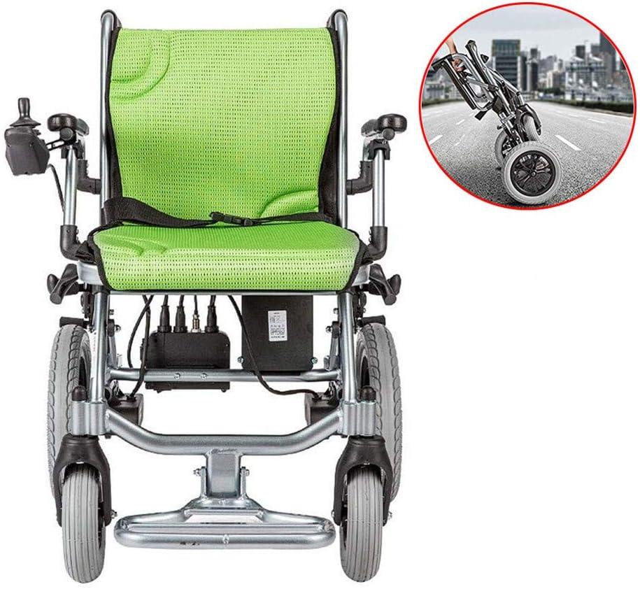 WuLien Silla de Ruedas Plegable Ligera electrica, Cinturon de Seguridad, Ultra-Ligera de Aluminio con Freno, Ancho Asiento 45 cm, para discapacitados y Mayores