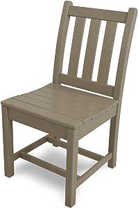 POLYWOOD TGD100SA Traditional Garden Dining Side Chair, Sand