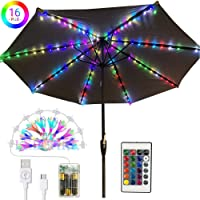 Patio Umbrella Lights, 16 Colors RGB LED Chasing String Lights with Remote Control 2 in 1 USB and Battery Powered Lighting for Garden Backyard, Camping Tents, Party.
