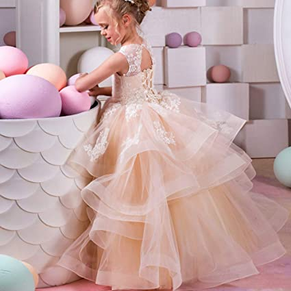 Vestidos de fiesta para niños pequeños Vestido de boda de los niños Brote Pantalla de seda
