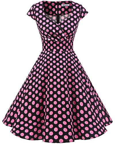 Bbonlinedress Women Short 1950s Retro Vintage Cocktail Party Swing Dresses Black Pink BDot M