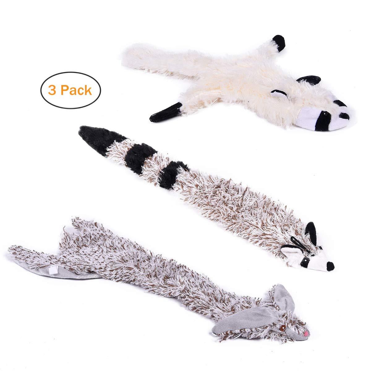 PAWZ Road Dog Chew Toys, 3 PCS Pet Dog Plush Squeaking Chew Toy Training Squeaky Toys