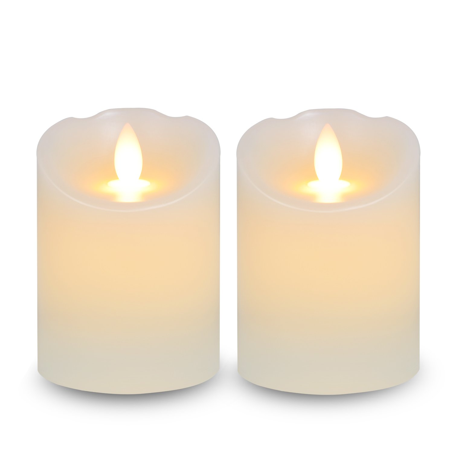 Lafrie Flameless LED Candle, Realistic Battery Candle D3''X H4'' Set of 2 Ivory Real Wax Pillar LED Candles for Wedding, Birthday Gift, Churches, Harry Potter Party Decorations
