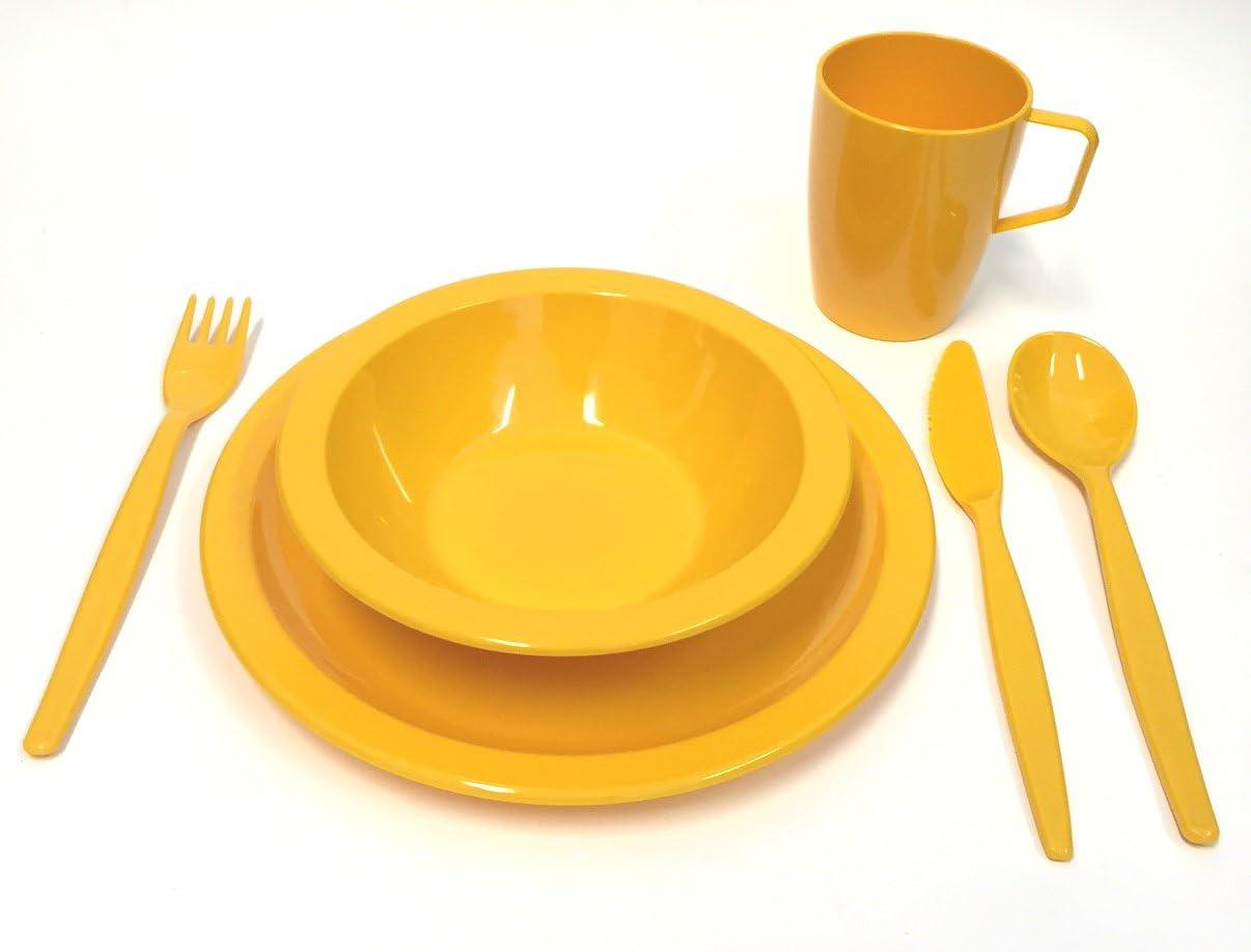 amarillo Set de vajilla de pl/ástico de policarbonato para acampada Harfield vaso y cuberter/ía infantil cuenco plato
