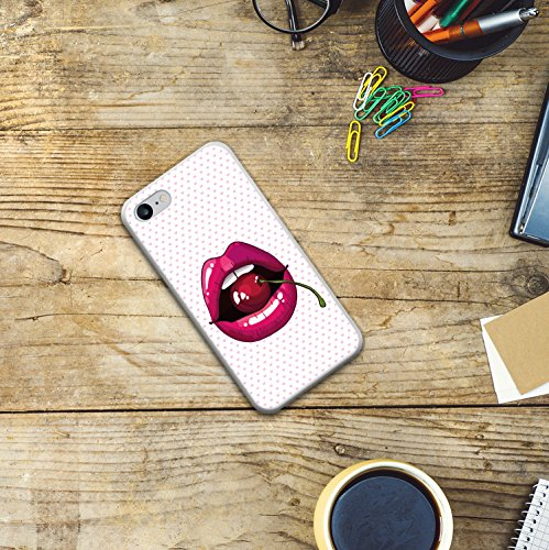 iPhone 8 Hülle, WoowCase Handyhülle Silikon für [ iPhone 8 ] Lippen und Kirschen Handytasche Handy Cover Case Schutzhülle Flexible TPU - Transparent