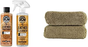 Chemical Guys Leather Cleaner and Conditioner Complete Leather Care Kit (16 oz) (2 Items) & Guys MIC29402 Workhorse Tan Premium Grade Microfiber Applicator, Leather & Vinyl Seats (Pack of 2)