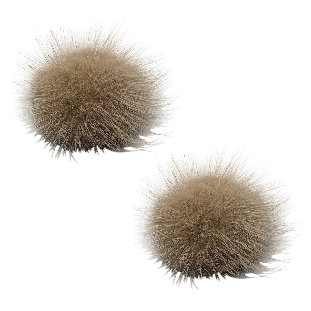 L'vow Women' Fluffy Mink Fur Pom Removable Shoe Clips Clutch Wedding Decoration Pack of 2 (Light - Coffee)