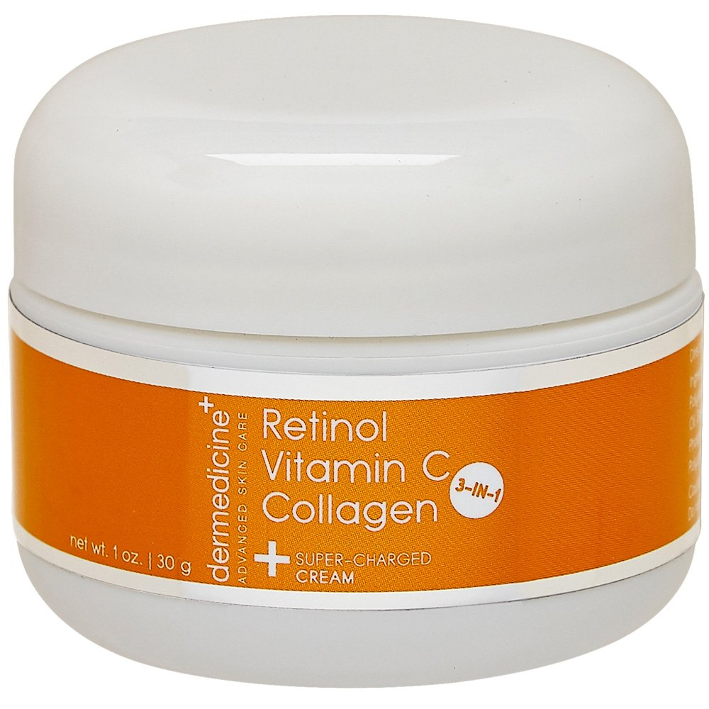 Vitamin C + Retinol + Collagen | Super Charged Anti-Aging Cream for Face | Pharmaceutical Grade Quality | Helps Smooth & Plump Fine Lines & Wrinkles & Brightens for Younger Skin | 1 oz / 30 g Dermedicine