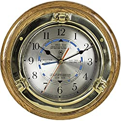 Brass Porthole Time and Tide Clock