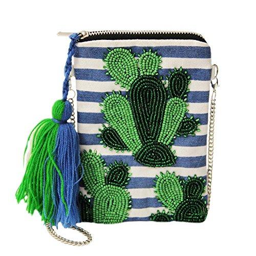 Sweet Deluxe Tasche Cactus silber-blau-weiß-grün