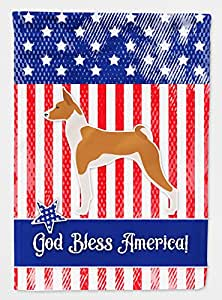 Caroline tesoros del bb3374gf jardín tamaño Estados Unidos patrióticos Basenji Bandera, multicolor, small
