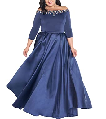 Off The Shoulder Plus Size Prom Dresses with Sleeves Long ...