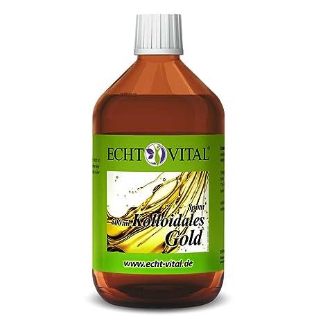 Echt Vital Kolloidales Gold 8 ppm - 1 Flasche mit 500 ml - Reinst-Gold (Reinheitsstufe 99,99%)