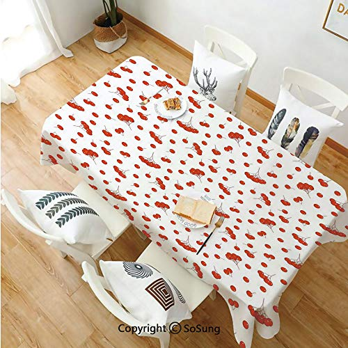 SoSung Rowan Rectangle Polyester Tablecloth,Tile Pattern with Juicy Ashberries in Graphic Style Vivid Fall Foliage Display,Dining Room Kitchen Rectangle Table Cover,60W X 120L inches,Scarlet White (Best Fall Foliage In Texas)