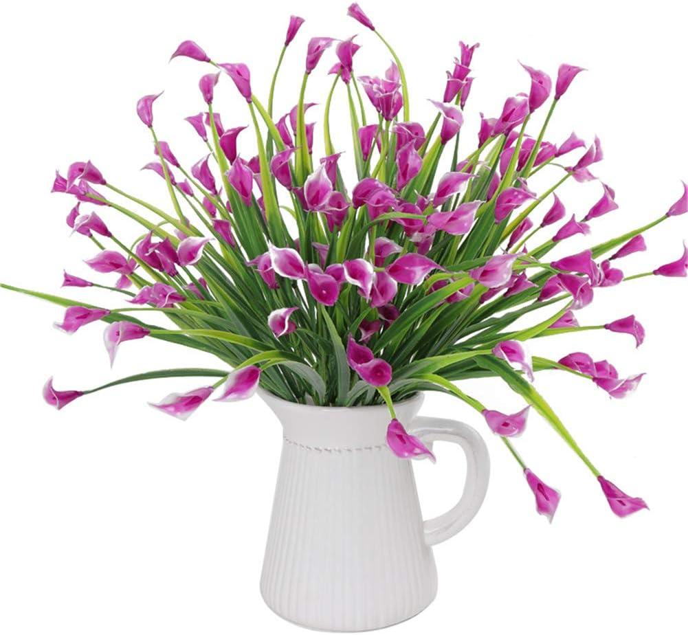 Takefuns 4 arbustos Artificiales de plástico de imitación para Plantas Verdes, arreglos Florales para el hogar, Cocina, Comedor, jardín, plástico, Rosy-4pcs, Rosy-4pcs