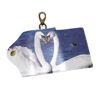 Amazon Com Keakia Drawing Swan Leather Key Case Wallets Tri Fold
