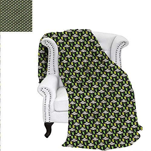RenteriaDecor Alien Flannel Blanket UFO Portrait Space Crafts Custom Design Cozy Flannel Blanket 50