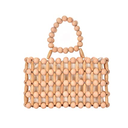 bc1ff753b56 Amazon.com: Purelemon Beach Bag Wooden Bead Bag Woven Handbag: Home ...