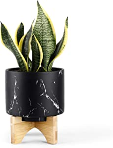 Medium Plant Pot - 5.5 Inch Black Marble Ceramic Planters for Small Snake Plant Seeding, with Arched Bamboo Stand