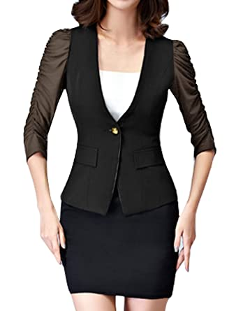 Americana Mujer Verano Elegantes Negocios Oficina Slim Fit Basic ...
