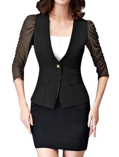 Americana Mujer Verano Elegantes Negocios Oficina Slim Fit ...