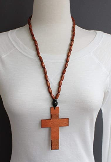 Brown Wood Cross Long Necklace Big Huge Cross Pendant Wooden Bead Beaded