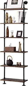 BOSURU Industrial Pipe Shelves Rustic Wood Ladder Bookshelf Wall Mounted Shelf for Living Room Decor and Storage