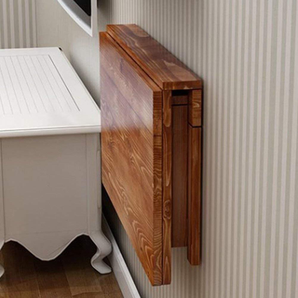 Dongy純木折りたたみダイニングテーブル壁掛けドロップリーフテーブルスペースセーバーフォールドコンバーチブルデスク炭化(サイズ:80 * 50 cm) B07T5KCBWC  80*50cm