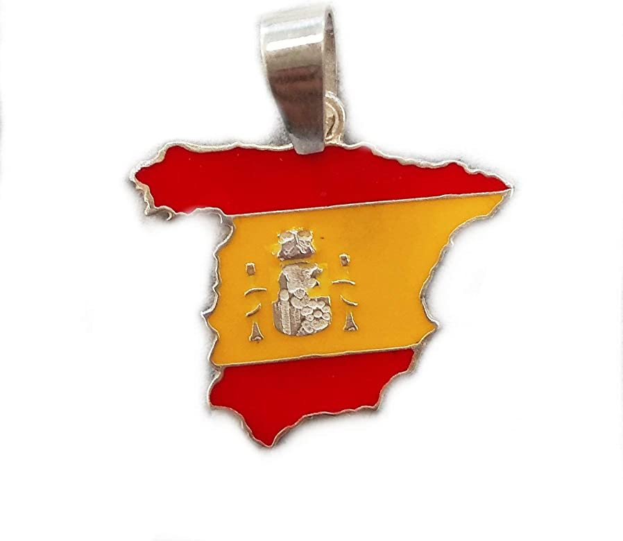 Double Eight Colgante Mapa de España en Plata de Ley de 925 ...