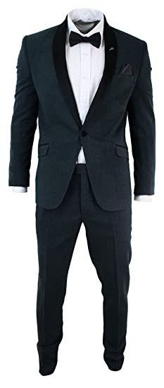 c672e56120bb CB Mens 3 Piece Herringbone Tweed Suit Shawl Round Velvet Collar Blue Black Slim  Fit Blue