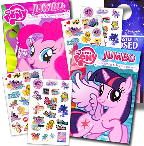 My Little Pony  Coloring Book Super Set Stickers (2 Jumbo Books Sticker Pack Featuring Rainbow Dash, Fluttershy, Pinkie Pie More!) (Pinkie Pie & Rarity)