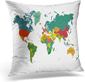 woyaochudan Cushion Cover 45x45cm/18x18inches Flat World Map Country Names America Borders South Political Home Decor Throw Pillow Cover Square Pillowcase for Bed Sofa