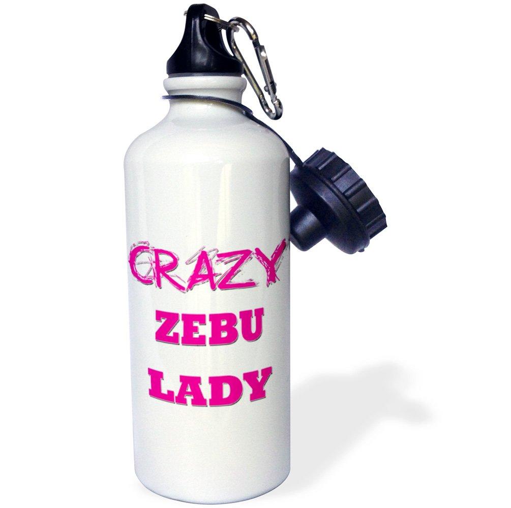wb/_175357/_1 Multicolored 3dRose Crazy Zebu Lady-Sports Water Bottle 21oz