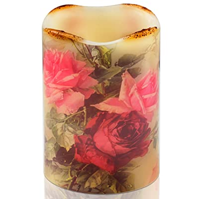 Pillar Real Wax Flameless Candle, Battery Operated LED Flickering Candle, Classic Vintage Roses Floral Realistic Candle 4x6inch with 4/8 Hours Timer, Home Decor: Home Improvement