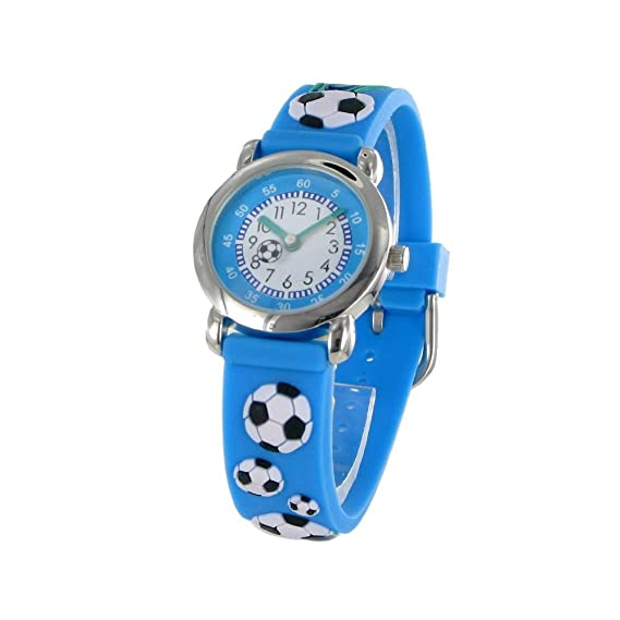 c05366305e5a Reloj infantil con MCK azul balones de fútbol-movimiento mecánica  redondo-Pulsera de goma con 2 años de garantía