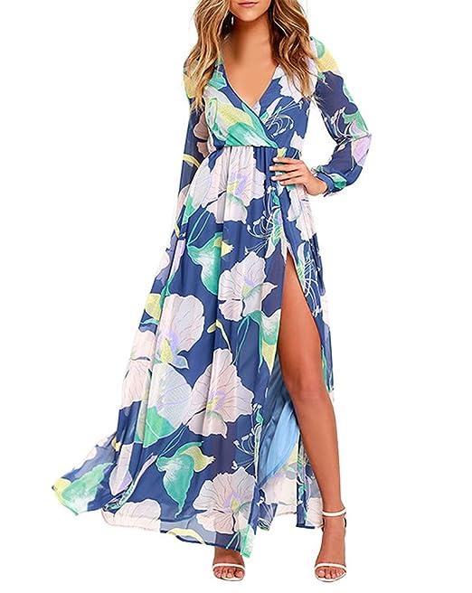 Huixin Vestidos Largos Mujer Elegantes Estampados Flores Vintage Vestido De Fiesta Playa Manga Larga V Cuello