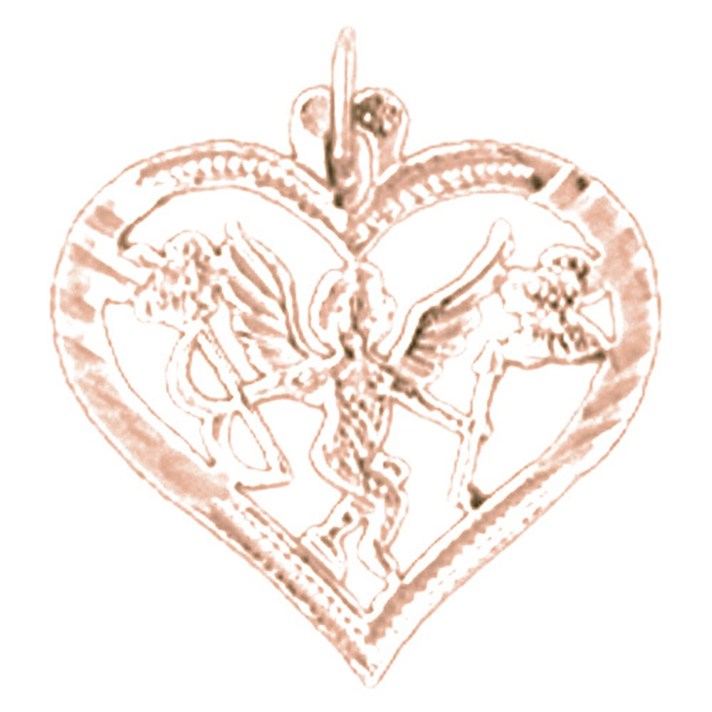 14K Rose Gold-plated 925 Silver Heart With Angel Pendant with 18 Necklace Jewels Obsession Heart With Angel Necklace