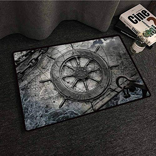 (DuckBaby Modern Door mat Ships Wheel Retro Navigation Equipment Illustration with Steering Wheel Charts Anchor Chains Personality W20 xL31)
