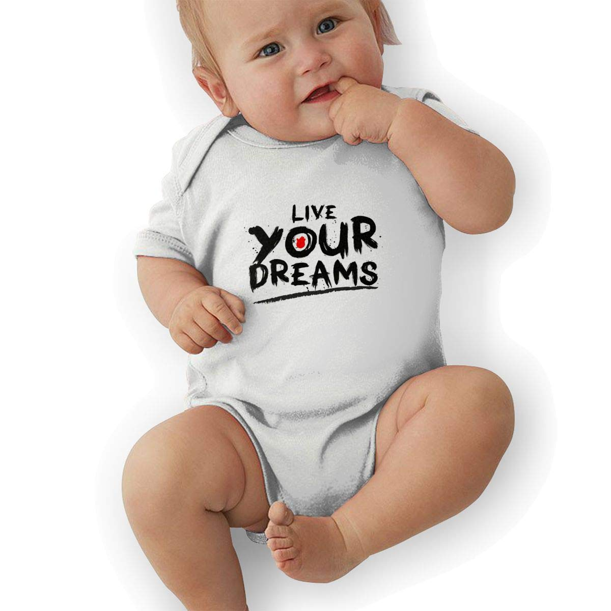 Infant Baby Girls Bodysuit Short-Sleeve Onesie Live Your Dreams Print Rompers Summer Pajamas