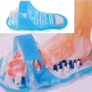thorityau Kunststoff Bad Fußbürste rutschfest Badezimmer Hausschuhe Fußwaschbürste Badeschuhe Massage Für Peeling Reinigen Massage Blau