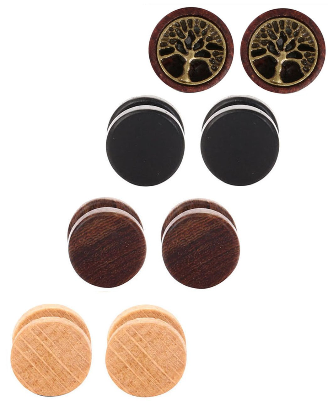Tanyoyo Wood Cheater Fake Ear Plugs Gauges Illusion Screw Stud Earrings 3pair a set (10mm:3 pair +1 pair tree of Life)