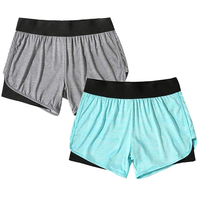Amazon.com: YOGAFEEL pantalones cortos de yoga para correr ...