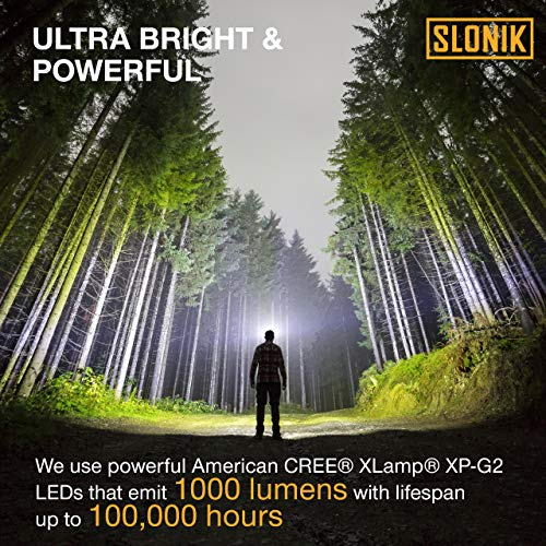 SLONIK 1000 Lumen Rechargeable CREE LED Headlamp w/ 2200 mAh Battery - Lightweight, Durable, Waterproof and Dustproof Headlight - Xtreme Bright 600 ft Beam - Camping and Hiking Gear